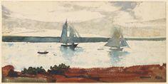 """Уинслоу Хомер, два Парусники, 1880, акварель.  """"Вы увидите в будущем я буду жить по моим акварелей."""" -Winslow Гомера"""