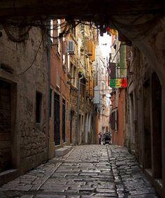 Medieval Rovinj, Croatia. Beautiful worn out cobblestone streets.