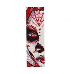 LADY in RED-Peyote Bead Pattern-Dia de los Muertos-Day of the Dead Beaded Bracelet-Cuff Pattern-Sugar Skulls