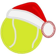Santa Hat Tennis Ball applique - 3 Sizes! | Christmas Applique Machine Embroidery Designs | Machine Embroidery Designs | SWAKembroidery.com