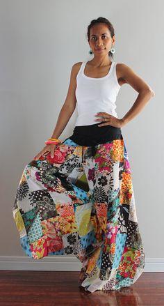 Wide leg pants   Boho Patchwork Womens long pants  Boho by Nuichan