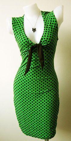 Amazon.com: 50's Vintage Style Green Polka Dot Swing Pinup Rockabilly Retro Dress