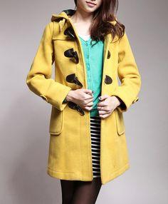Women's hooded wool coat wool cape coat yellow by Dressbeautiful