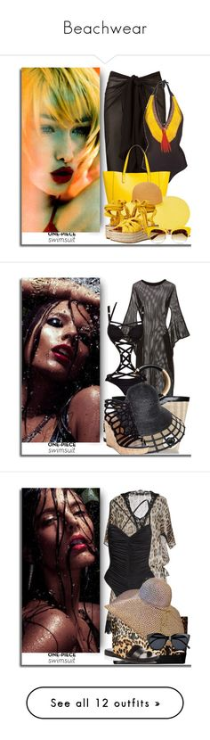 """Beachwear"" by bibiantje-m on Polyvore featuring mode, onepieceswimsuit, H&M en Balmain"