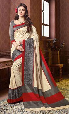 #Gray and #Beige #Bhagalpuri #Printed #Saree, #Printed #Bhagalpuri #Silk #Sarees Collection, http://www.ishimaya.com/sarees/all-collections.html – Ishimaya