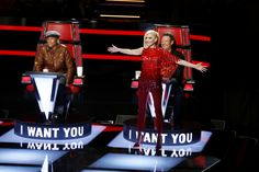 THE VOICE -- 'Blind Auditions' -- Pictured: (l-r) Pharrell Williams, Gwen Stefani, Blake Shelton -- (Photo by: Trae Patton/NBC)                                     via @AOL_Lifestyle Read more: http://www.aol.com/article/2015/11/17/blake-shelton-makes-gwen-stefani-blush-over-booty-call-remark/21267385/?a_dgi=aolshare_pinterest#slide=3687873