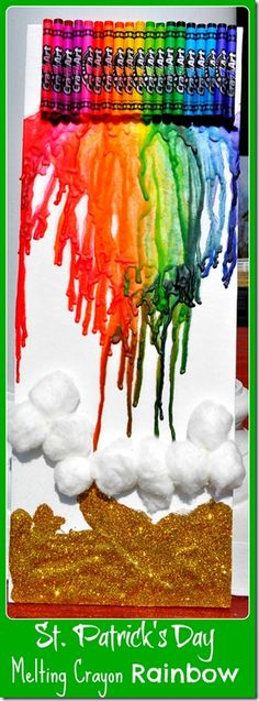 St. Patrick's Day Craft: Melting Crayon Rainbow and Pot of Gold at www.TheSeasonedMom.com