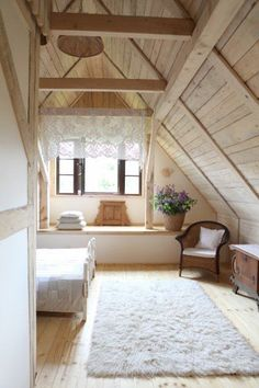 Romantic Wooden Cottage - bedroom - photos : adorable-home Attic Apartment, Attic Rooms, Attic Spaces, Attic Bathroom, Attic Playroom, A Frame Cabin, A Frame House, Attic Renovation, Attic Remodel