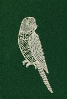 Alwynne Crowsen, Honiton Lace Budgie, 1980s Needle Lace, Bobbin Lace, Lace Making, Lace Design, Blackwork, Birds, Embroidery, Crochet, Relationships