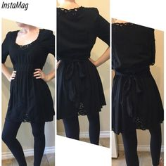 Very cute dress or tunic Black with lots of lace on sleeves, front and back, and bodice. Fun to wear. Go fish Tops Tunics