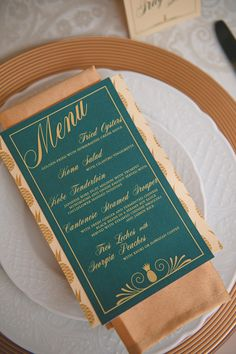 Emerald green and gold #wedding menu designed by Peter Loves Jane | Bit of Ivory Photography | see more on:  http://burnettsboards.com/2014/03/kuu-lei-vintage-inspired-wedding-hawaii/