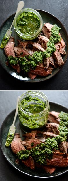 Garlic Brown Sugar Flank Steak with Cilantro Chimichurri Meat Recipes, Dinner Recipes, Cooking Recipes, Healthy Recipes, Water Recipes, Grilling Recipes, I Love Food, Good Food, Yummy Food