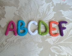 26 Crochet Letter Patterns - The Funky Stitch Crochet Letters Pattern, Crochet Alphabet, Letter Patterns, Crochet Motif, Crochet Flowers, Crochet Stitches, Knit Crochet, Crochet Patterns, Abc Alphabet