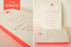 Coral Letterpress Palm Tree Wedding Invitation by Dauphine Press Available at French Blue  Hayden Avery