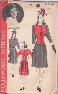 Hollywood 816 Vintage 40's Sewing Pattern Olivia De Havilland Film Star JAUNTY Contrast Flared Skirt Step In Dress, Drop Waist #MOMSPatterns