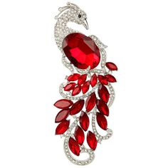 EVER FAITH? Silver-Tone Austrian Crystal 4.5 Inch Peacock Brooch Pendant Ruby Color >>> Want to know valentines gift ideas, click on the image.