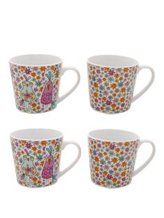 Ditsy Birds Mugs (4 Pack) | woolworths.co.uk