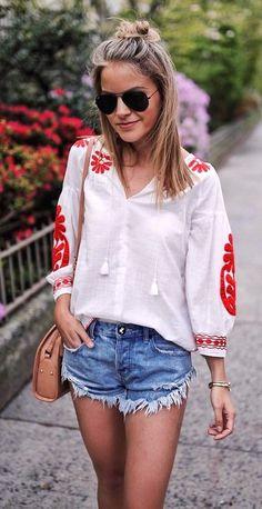 #Summer #Outfits / V Neck White Long Sleeve Blouse + Denim Short Shorts