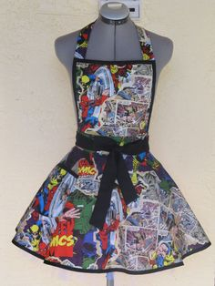 Marvel Comic Action Heros Apron Pin Up  Very by ApronsByVittoria, $36.00