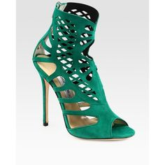 Jimmy Choo Stretch Suede Cage Sandals-What if you were fat, and your fat hung out of the shoe.