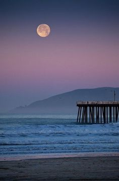 Full Moon Over Pismo Beach, California