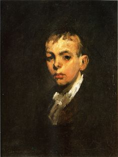 "George Wesley Bellows - ""Head of a Boy"", oil 1905 20.5 x 26.25 inches"