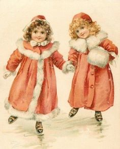 Old Christmas Post Cards — Two Girls Skate in Fur Trimmeded Red Coats Vintage Christmas Images, Old Christmas, Old Fashioned Christmas, Victorian Christmas, Vintage Holiday, Christmas Pictures, Christmas Greetings, Christmas Postcards, Xmas