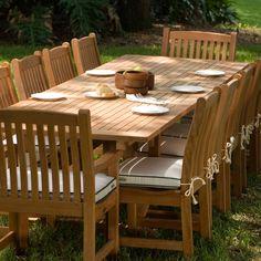 veranda 12 person dining table teak furniture set
