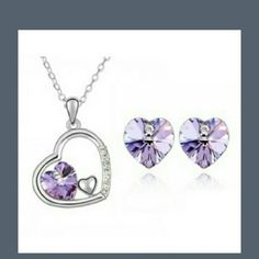 Austrian Crystal heart set necklace&earrings New very pretty Jewelry Necklaces