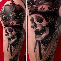 3D Tattoo Schädel mit Krone