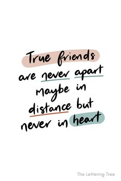 'True friends are never apart. Maybe in distance but never in heart.' This meaningful friendship quote is a great quote to send to a friend, especially if you are apart. Shop the full range of friendship cards from The Lettering Tree. Miss You Friend Quotes, Missing Best Friend Quotes, Best Friend Quotes Distance, Miss My Best Friend, Bff Quotes, Words Quotes, Quotes For Best Friends, Best Friends Forever, Sayings