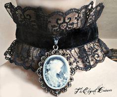 Victorian Goth Choker... Velvet beautiful  gothic lolita lace  black cameo  edwardian  corset  vampire  vampirism