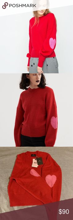 Lazy oaf wear your heart on your sleeves sweater Lazy oaf red sweater / jumper. Like new. Wear your heart out 🙈🙈🙈😻😻😻 bought this not long ago and wore once.... I love it but will move to Thailand and won't have much use! Hope it ends up with someone who loves and wears the hell out it 😇 relaxed cropped fit. Lazy Oaf Sweaters Crew & Scoop Necks