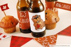 Plan a rustic Canada Day party by the fire and decorate the picnic tables and bottles with these fun FREE printables. Canada Day Party, Canada Day 150, Happy Canada Day, O Canada, Free Printable Stickers, Printable Banner, Party Printables, Free Printables, Patriotic Party