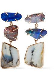Melissa Joy Manning 14-karat gold, sterling silver and opal earrings