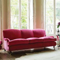 Pink velvet roll arm sofa   Velvet English roll arm sofa   Graham and Green Windsor sofa