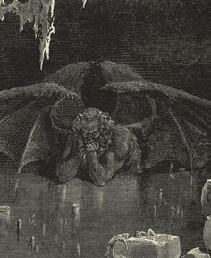 This is Lucifer at the lowest rung of Hell where he is frozen in ice and here he consumes Caiaphas, Brutus and Judas forever more. This is again Gustave Dore but this is from Dante's Inferno. (Pride)