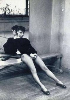 Audrey Hepburn taking a break from dancing. Photograph by Ben Ross, 1952. : OldSchoolCool
