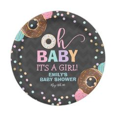 "Donut Baby Shower Party Paper Plate 7"" Donut Party - paper gifts presents gift idea customize"