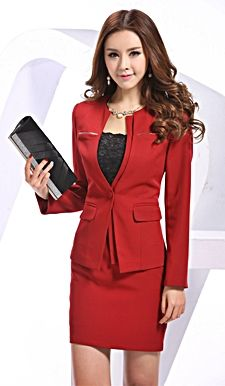 Elegant red suits for women.  http://www.formalworkattire.com/wearing-trendy-red-suits-women-job-interviews/