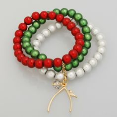 Green and Dark red Miracle Beads bunch Bracelet for Christmas holiday gift,Wishbone with a little bird charm in Bracelets - IDEA CENTER