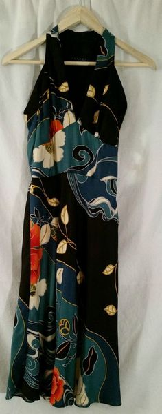 Laundry by Shelli Segal 100% Silk Halter Floral Dress Size 4 #Laundry