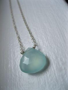 Lovely Aqua Blue Chalcedony Briolette on Sterling by lilyladyblue, $34.00