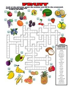 A great puzzle to review the vocabulary about fruit. You can cover the word bank for more advanced kids to make it more challenging. Answer key is included. Enjoy! :)