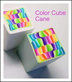 Polymer Clay Canes | color cube canes used to make the earrings below
