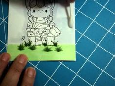 Grass and Clouds with Copics- easy fast, smooth color application. Use Qtip with blending solution to coat paper and then apply ink with Qtip.