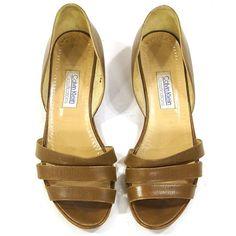 90s Brown Leather Sandals / Vintage 1990s Calvin Klein Open