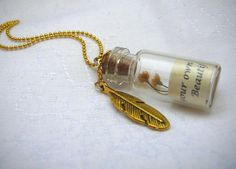 Tiny Glass Bottle Necklace, Quote Necklace, Message in a Bottle Necklace, Personalized Quote with Vintage Gold Feather Charm