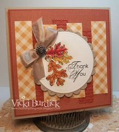 It's a Stamp Thing: FMS....Thank You - staggered strips of embossed & pp for background