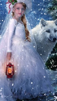 Snow wolf and girl Photo Zen, Photo D Art, Animation, Wolf Spirit, Moving Pictures, Live Wallpapers, Fantasy World, Animated Gif, Winter Wonderland
